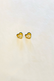 The Woods Fine Jewelry  Enamel and 14K Gold Heart Earrings - Front cropped