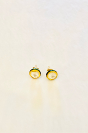 The Woods Fine Jewelry  Enamel and 14K Gold Round Studs - Product Mini Image