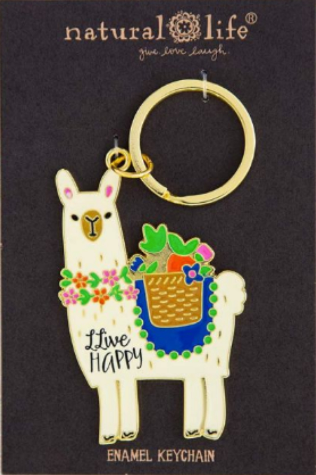 Natural Life Enamel Keychain Live Happy - Front Cropped Image