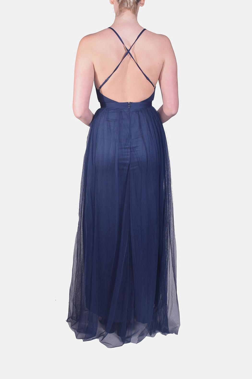 luxxel Enchantress Gown Navy - Side Cropped Image