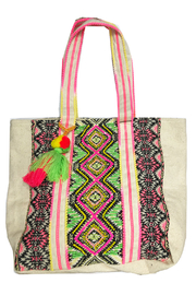 America and Beyond Endive Aztec Embellished Tote - Front cropped