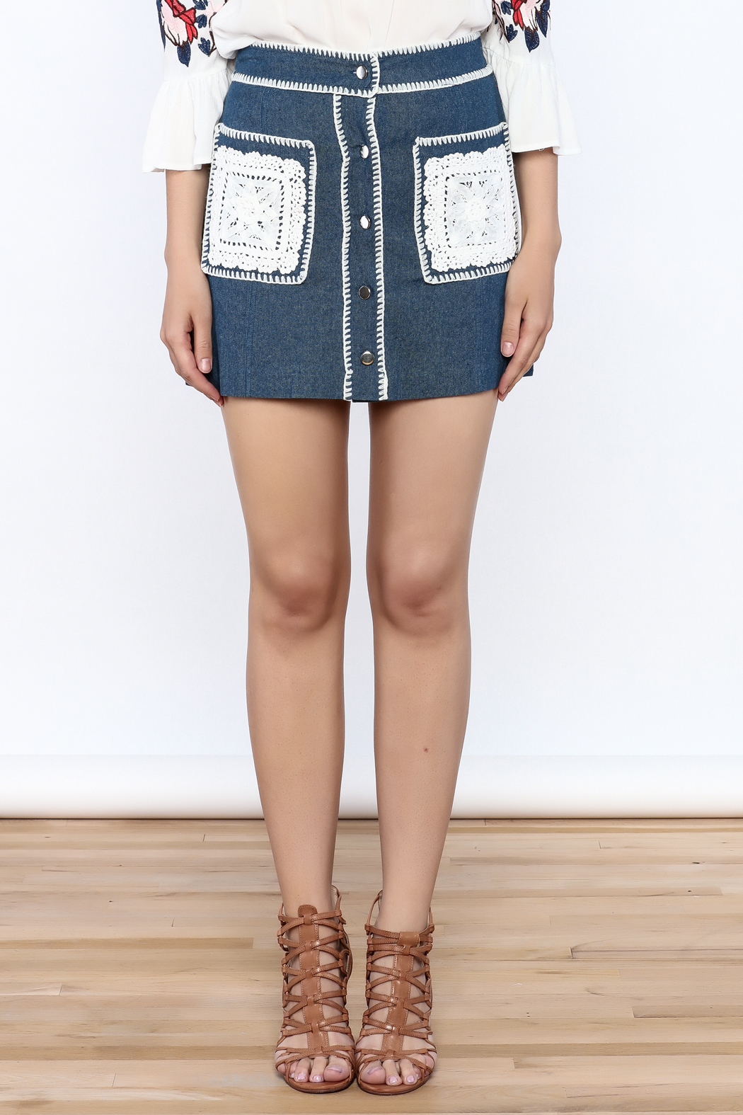 Endless Rose Button Down Denim Skirt - Side Cropped Image