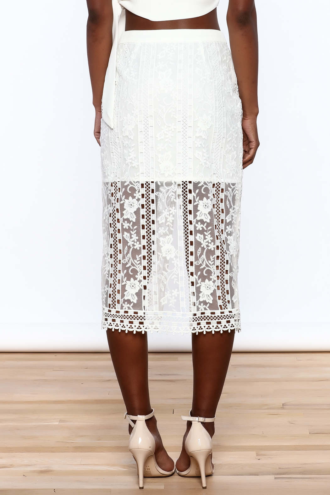 Endless Rose White Lace Skirt - Back Cropped Image