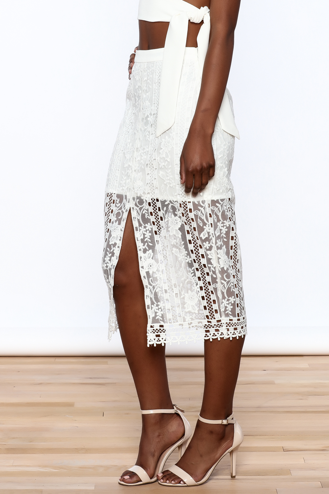 Endless Rose White Lace Skirt - Front Cropped Image