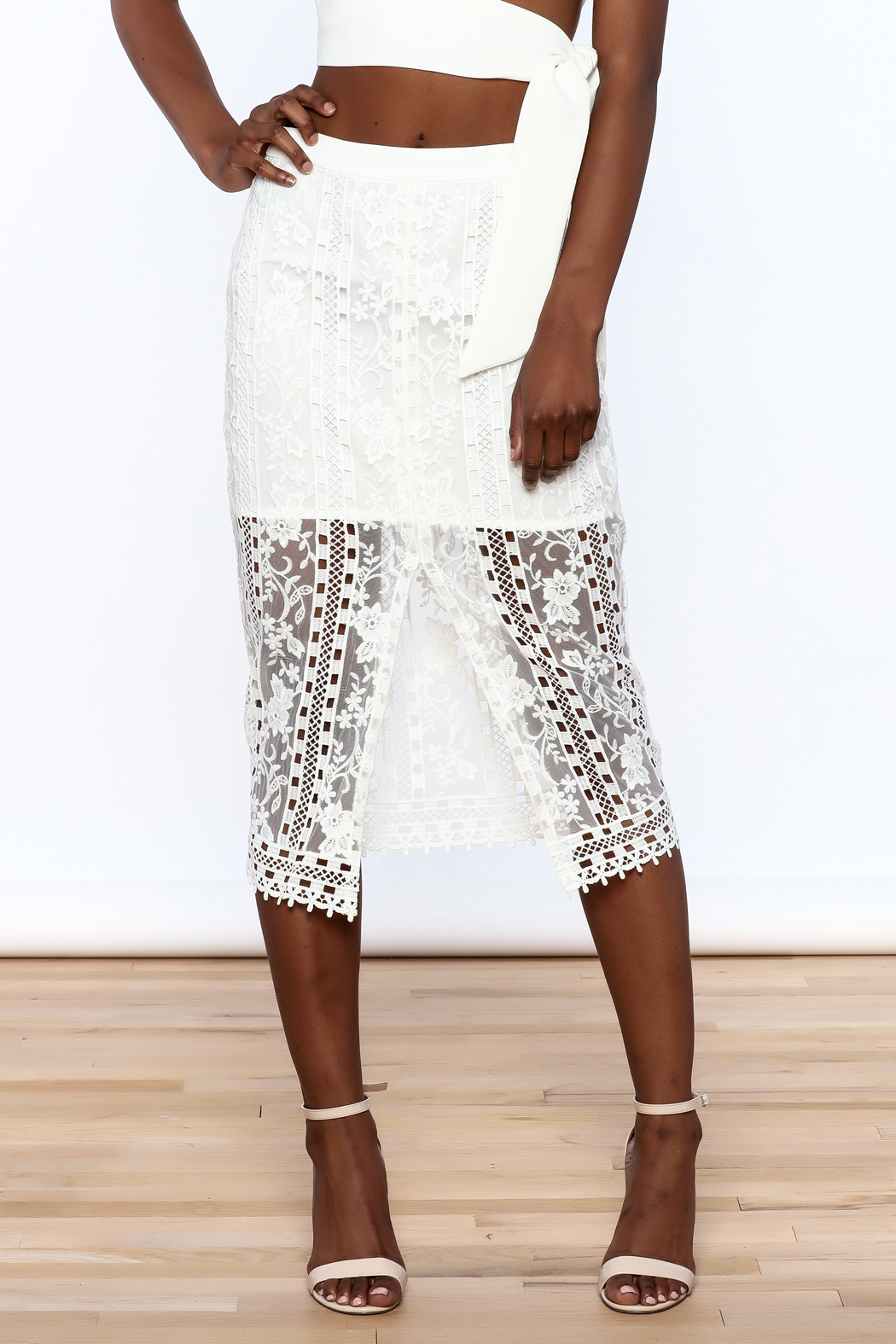 Endless Rose White Lace Skirt - Side Cropped Image