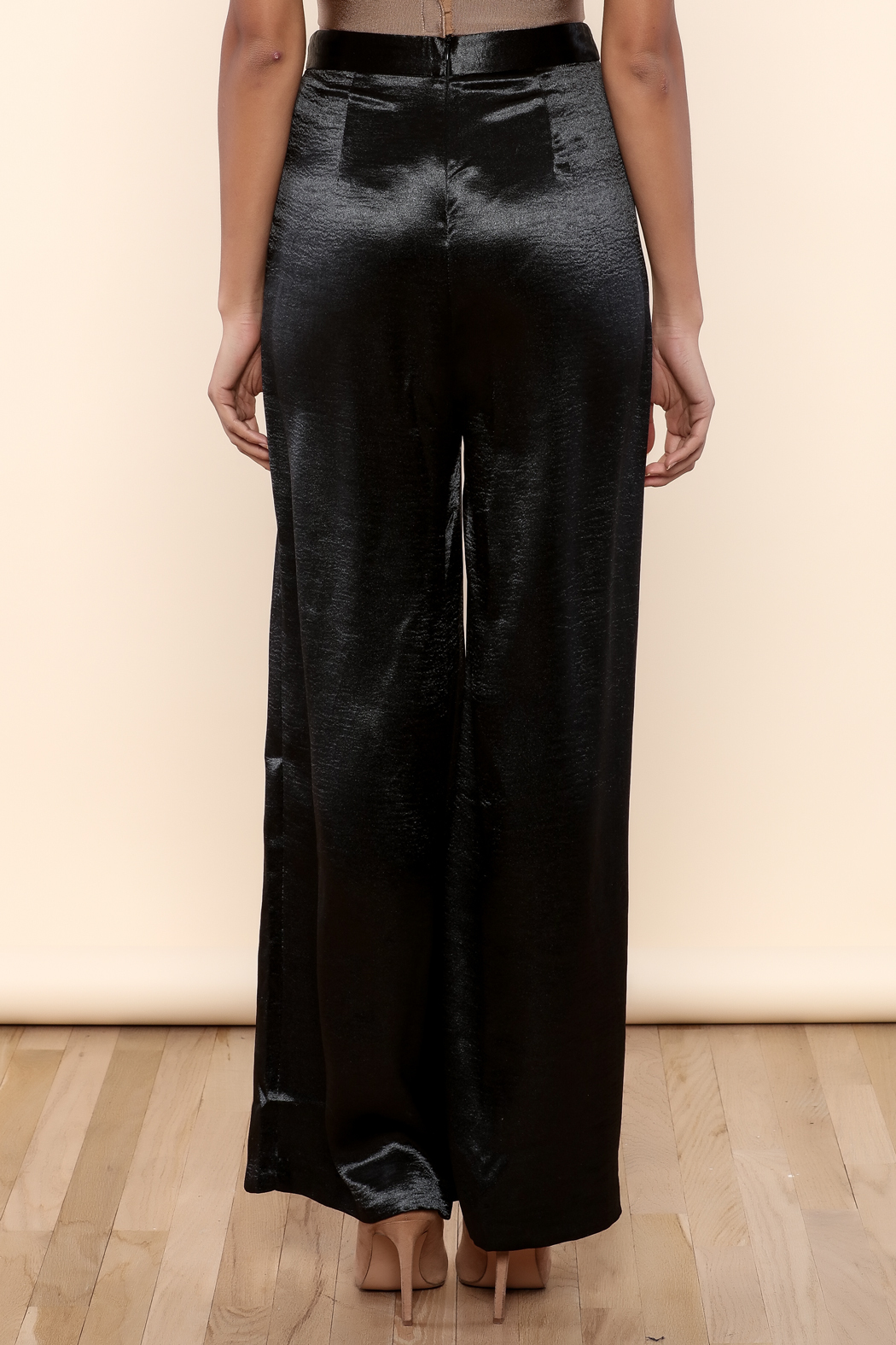 Endless Rose Satin Flowing Trousers - Back Cropped Image