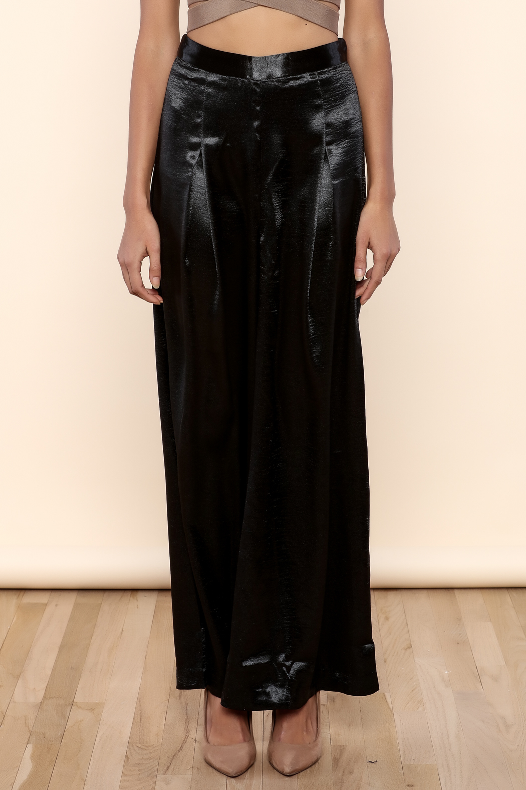 Endless Rose Satin Flowing Trousers - Side Cropped Image