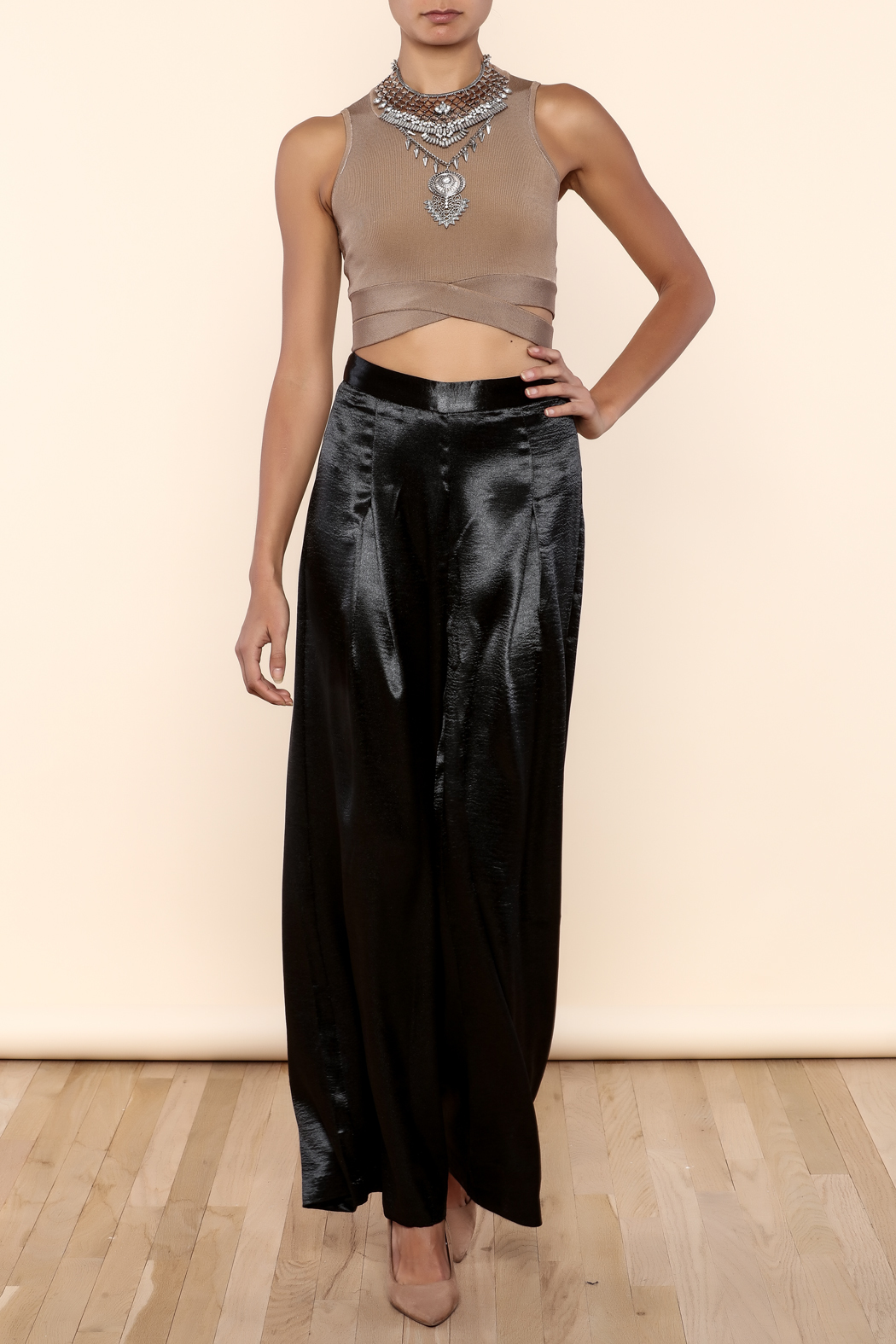 Endless Rose Satin Flowing Trousers - Front Full Image