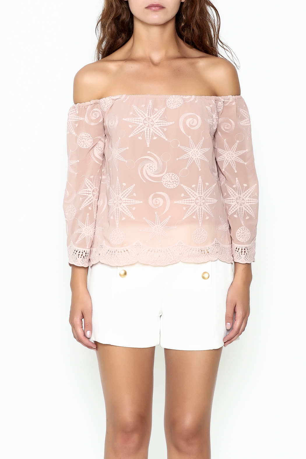 Endless Rose Scallop Trim Blouse - Front Full Image