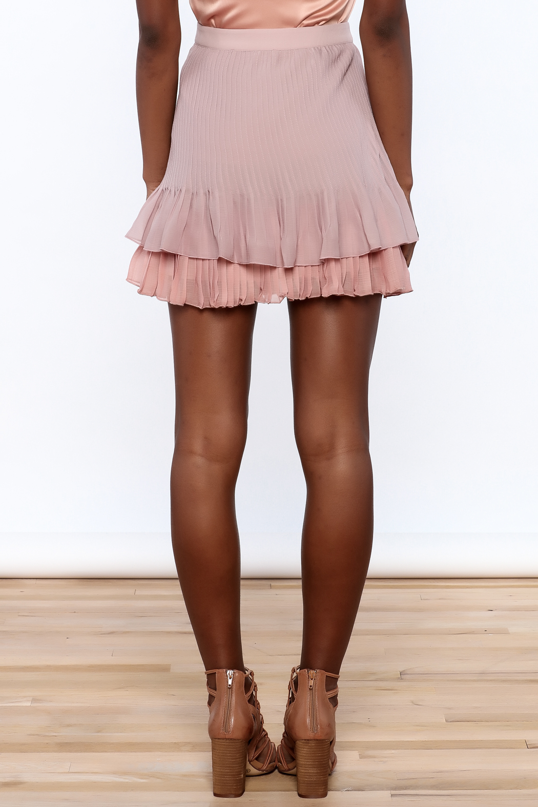 Endless Rose Old Rose Pleated Skirt - Back Cropped Image