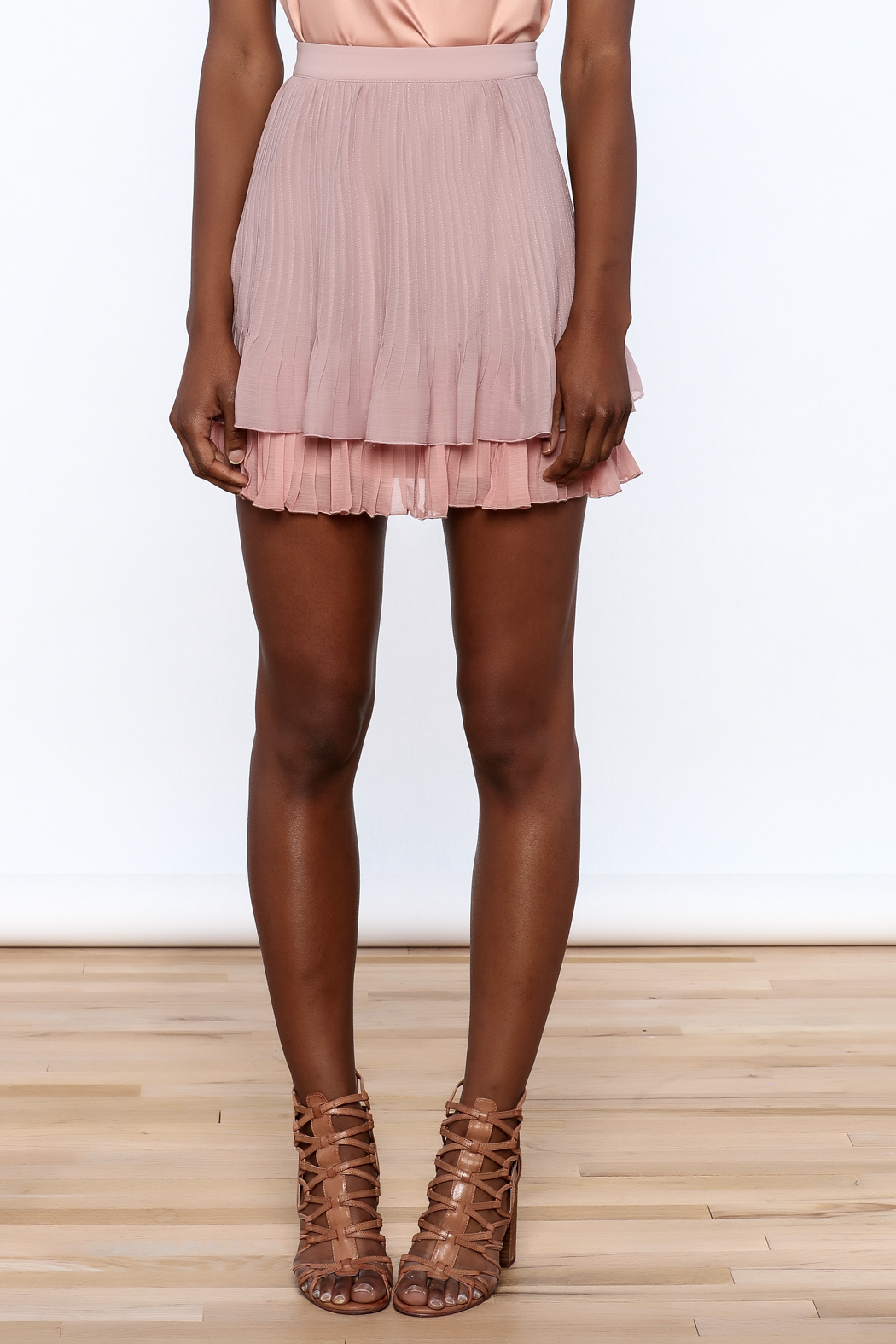 Endless Rose Old Rose Pleated Skirt - Side Cropped Image