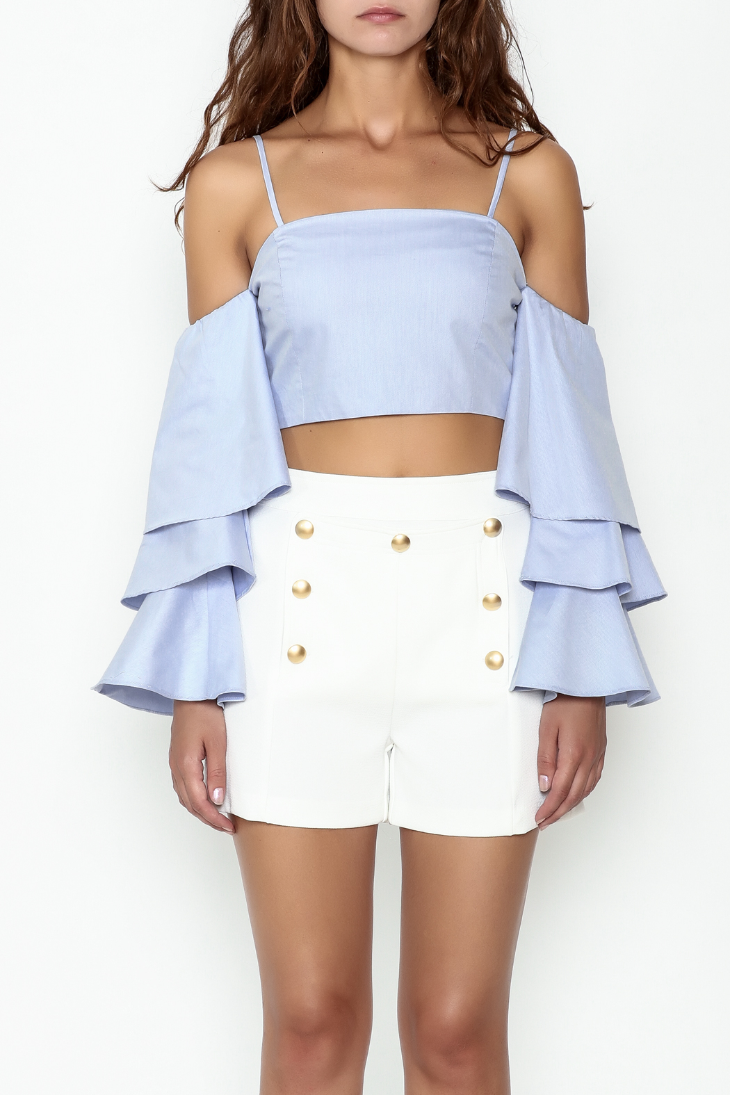 Endless Rose Tiered Ruffle Sleeve Crop - Front Full Image