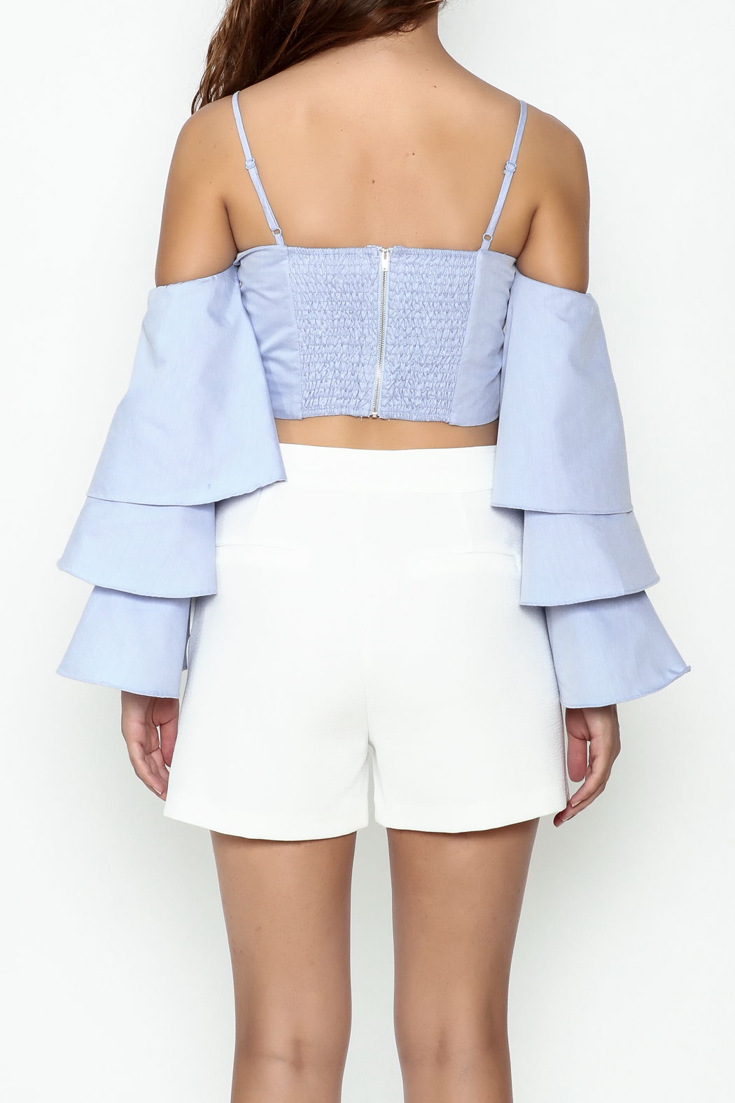 Endless Rose Tiered Ruffle Sleeve Crop - Back Cropped Image