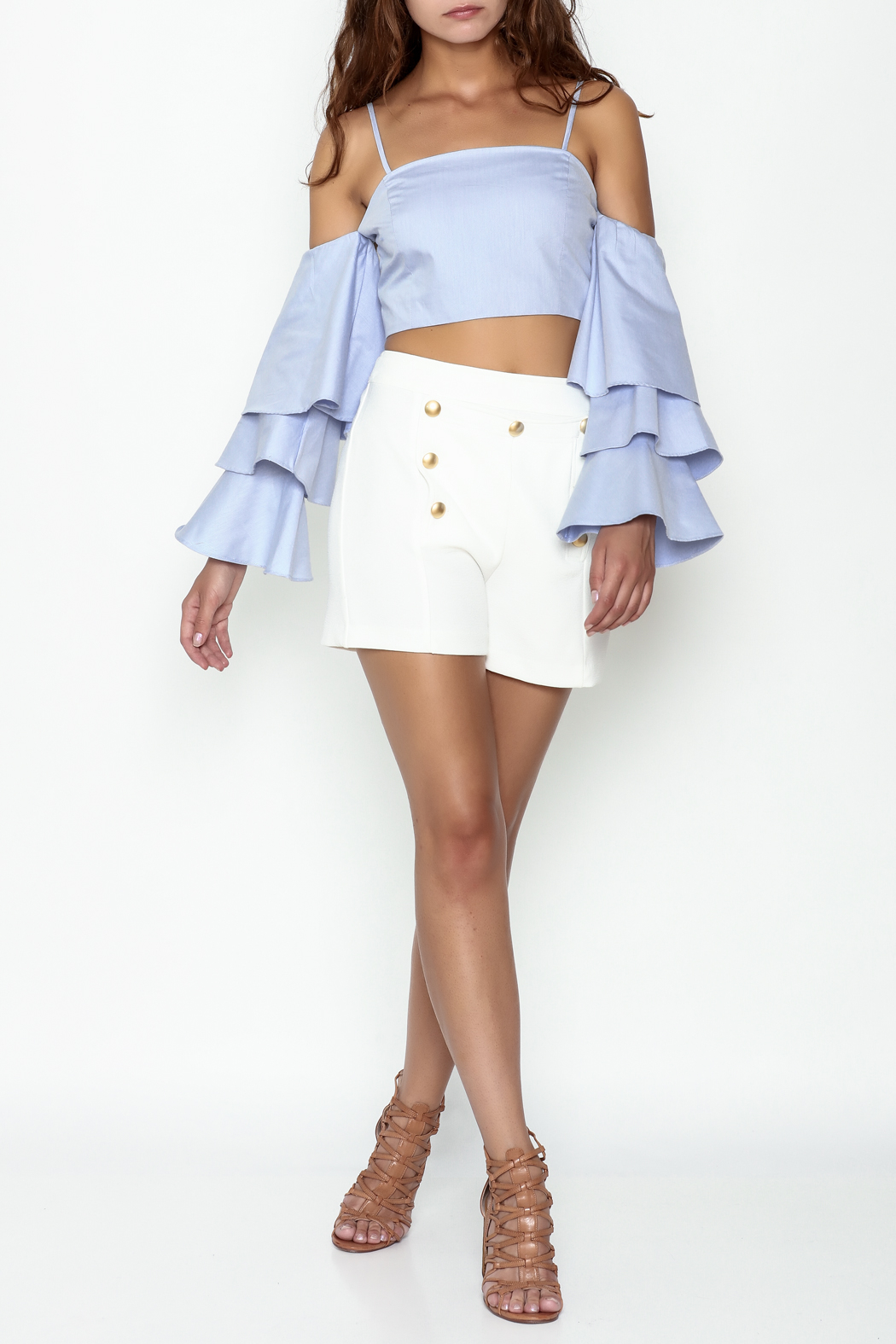 Endless Rose Tiered Ruffle Sleeve Crop - Side Cropped Image