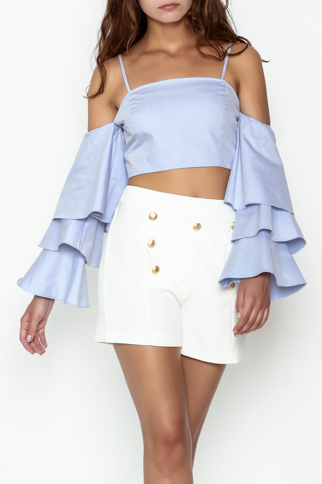 Endless Rose Tiered Ruffle Sleeve Crop - Main Image