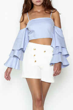 Shoptiques Product: Tiered Ruffle Sleeve Crop