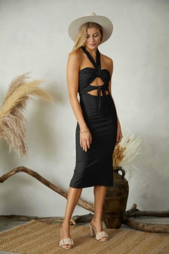 ENDLESS BLU Tie Front Cut Out Detail Rib Bodycon Dress - Product List Image