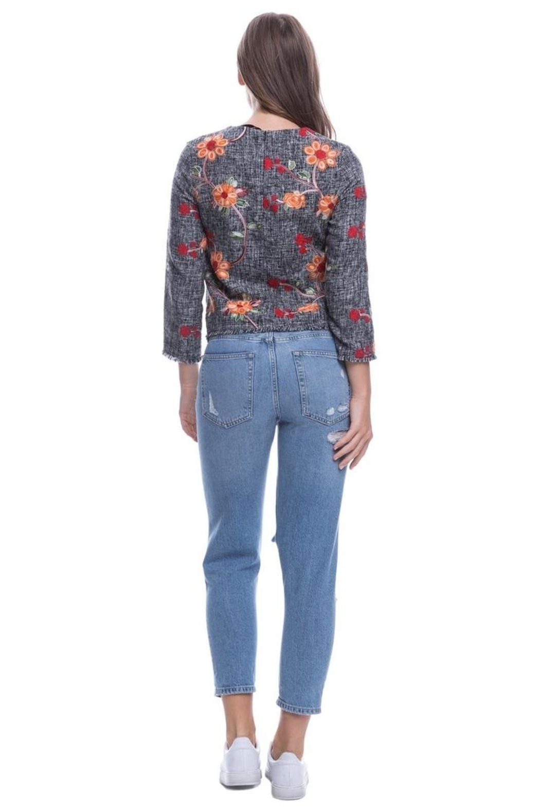 Endless Rose Embroidered Tweed Top - Side Cropped Image