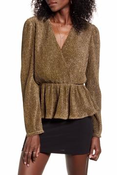 Endless Rose Metallic Wrap-Front Blouse - Product List Image