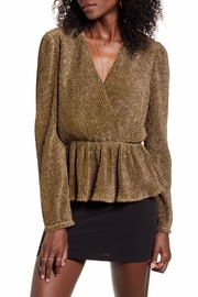 Endless Rose Metallic Wrap-Front Blouse - Front cropped
