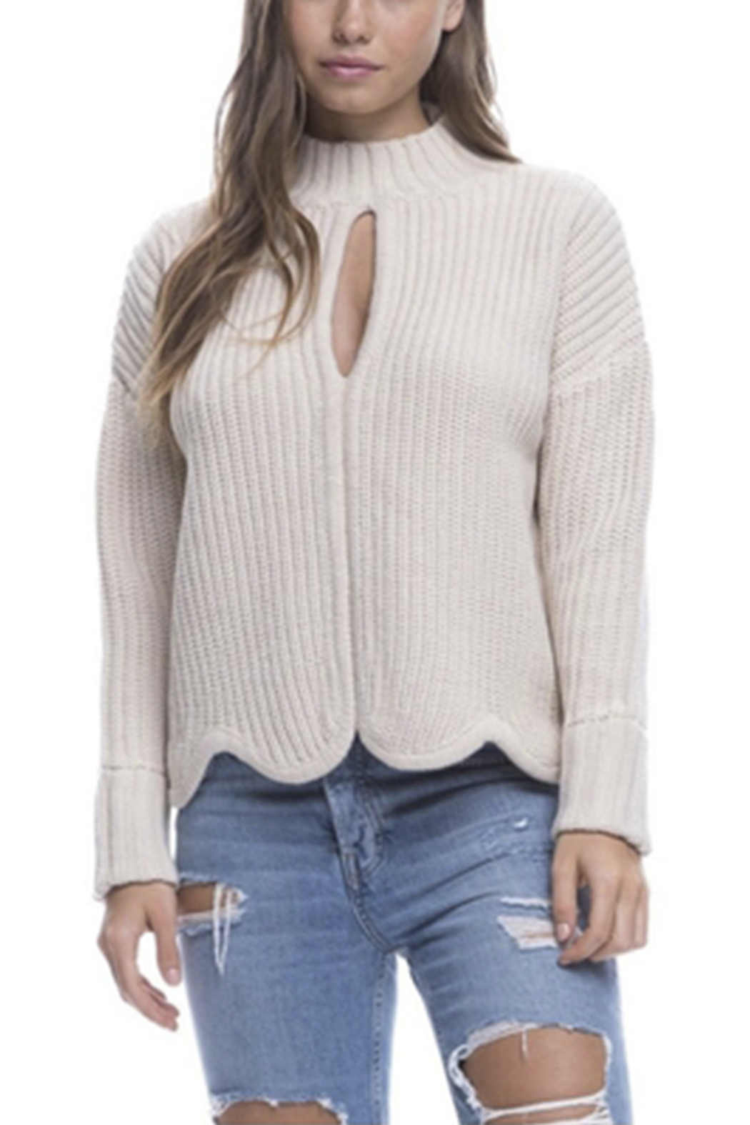 Endless Rose Scallop Edge Sweater - Side Cropped Image