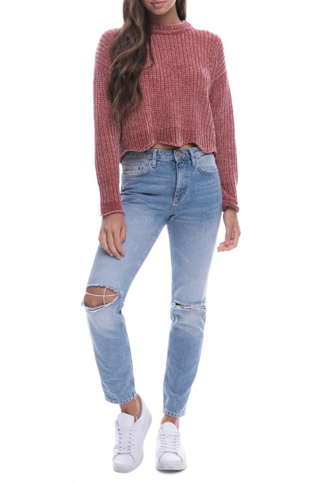 Endless Rose Scallop Hem Sweater - Front Full Image