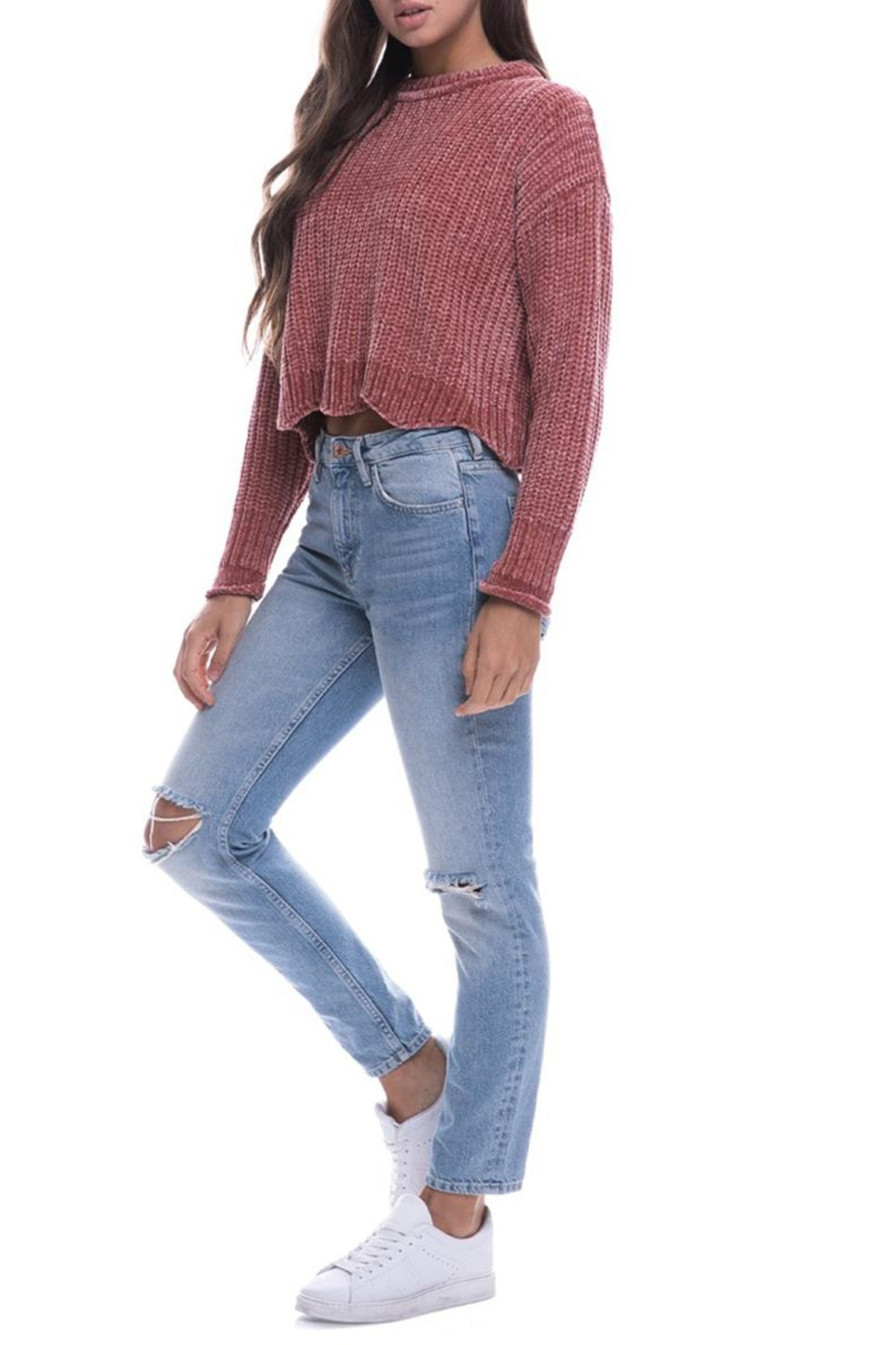 Endless Rose Scallop Hem Sweater - Side Cropped Image