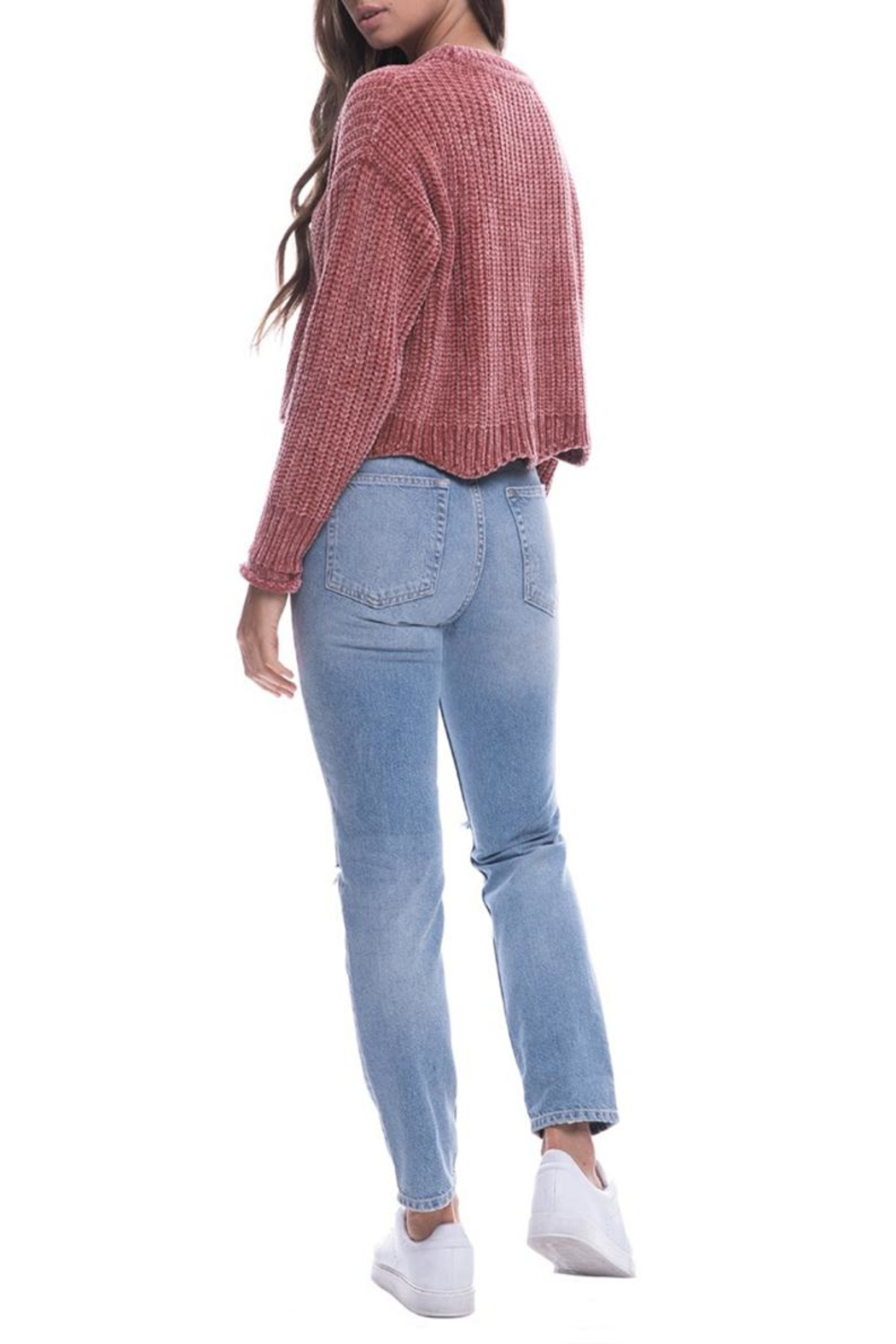 Endless Rose Scallop Hem Sweater - Back Cropped Image