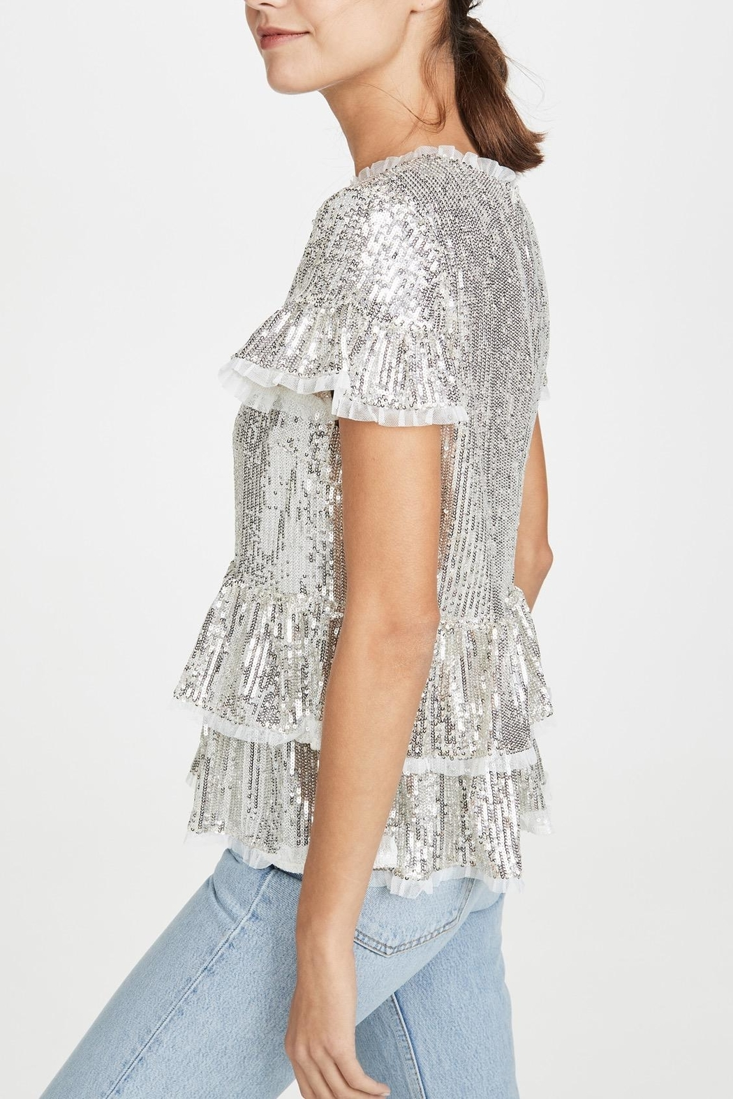 Endless Rose Sequin Tiered Blouse - Side Cropped Image