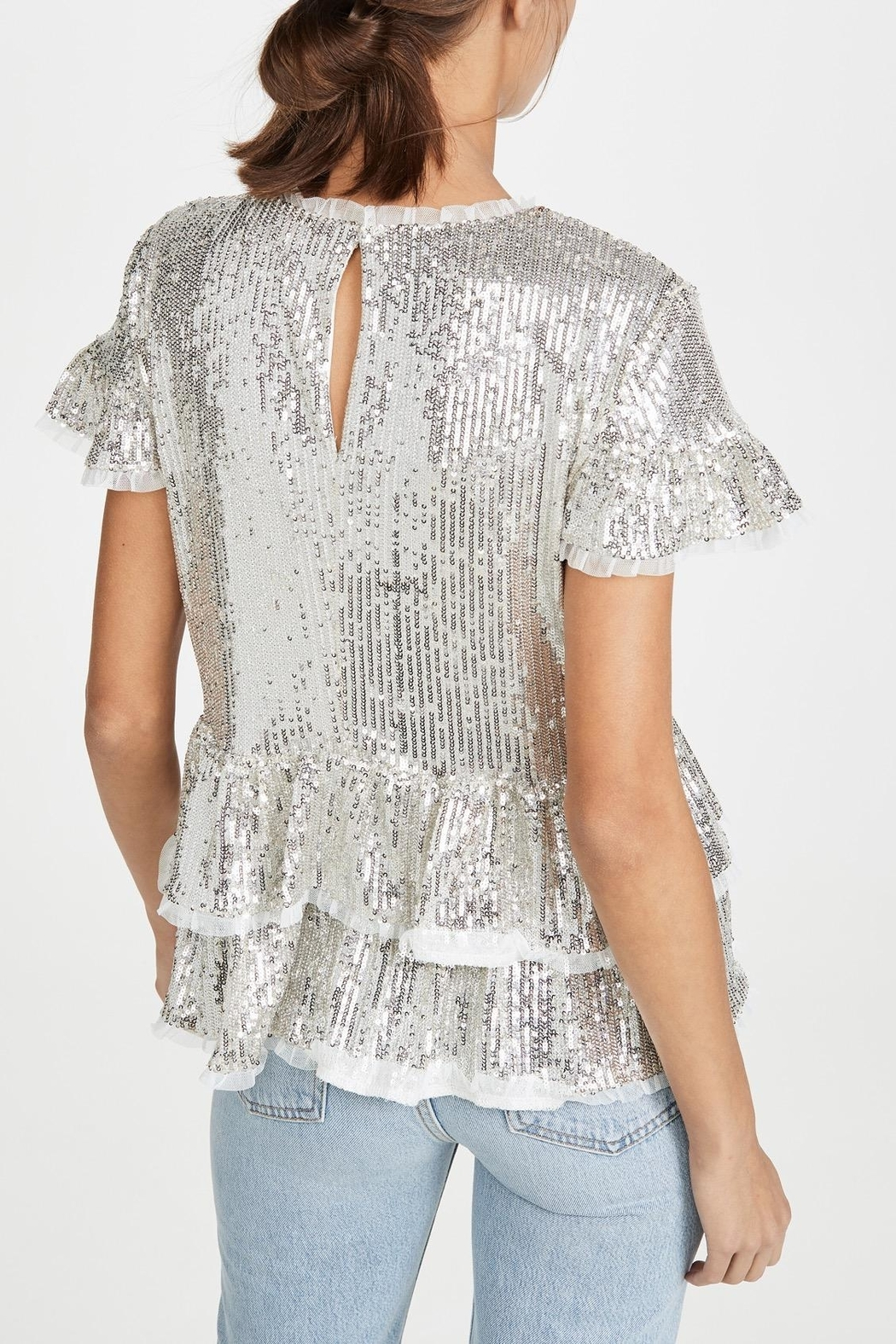 Endless Rose Sequin Tiered Blouse - Front Full Image