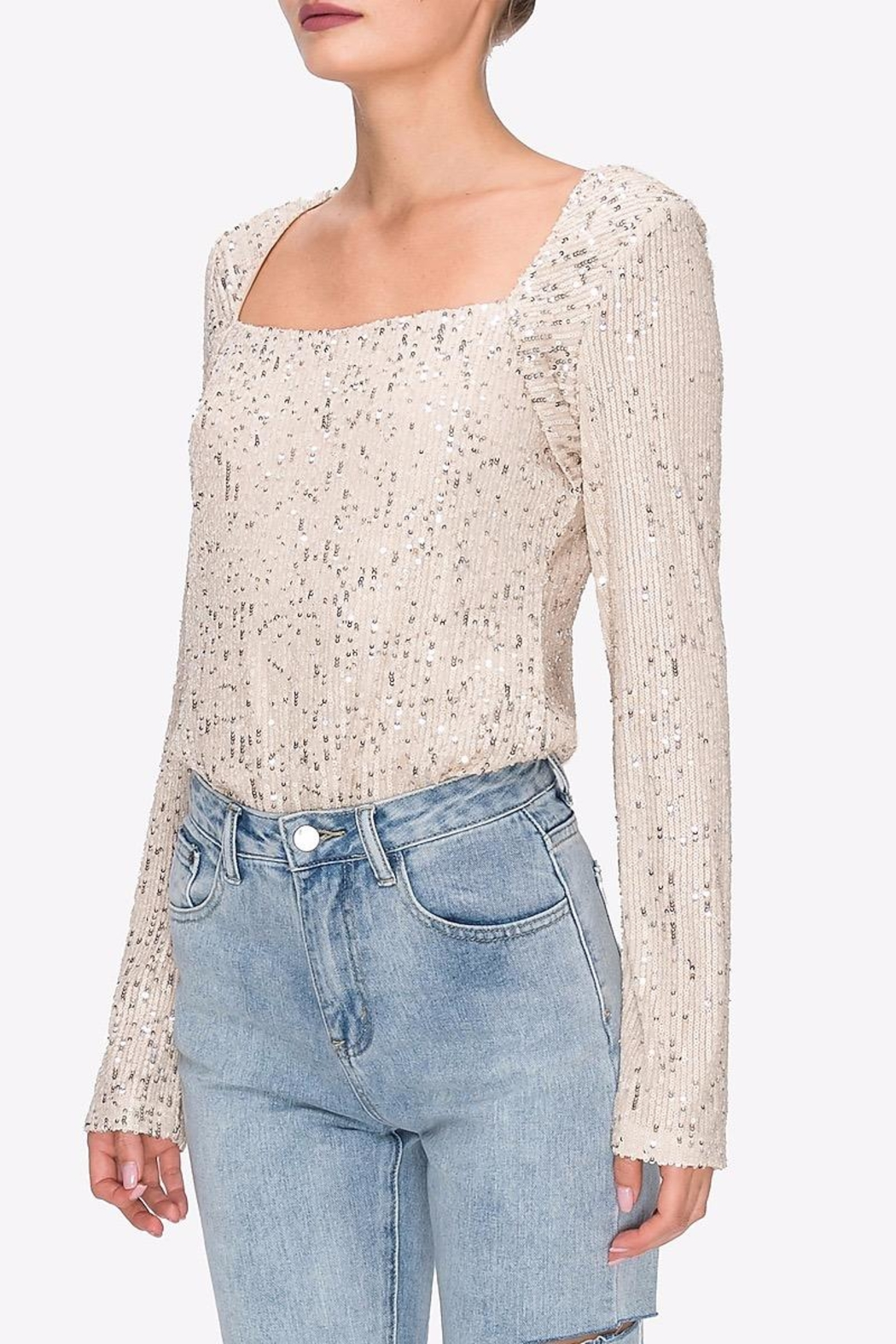 Endless Rose Square-Neck Sequin Top - Front Full Image
