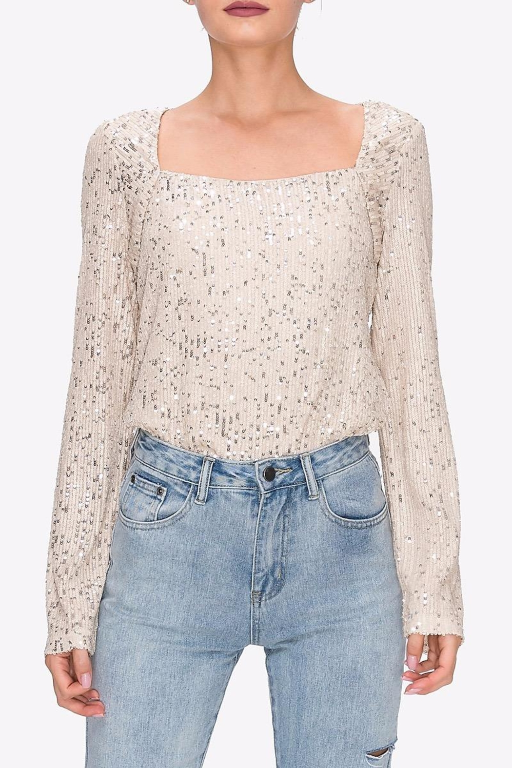 Endless Rose Square-Neck Sequin Top - Main Image