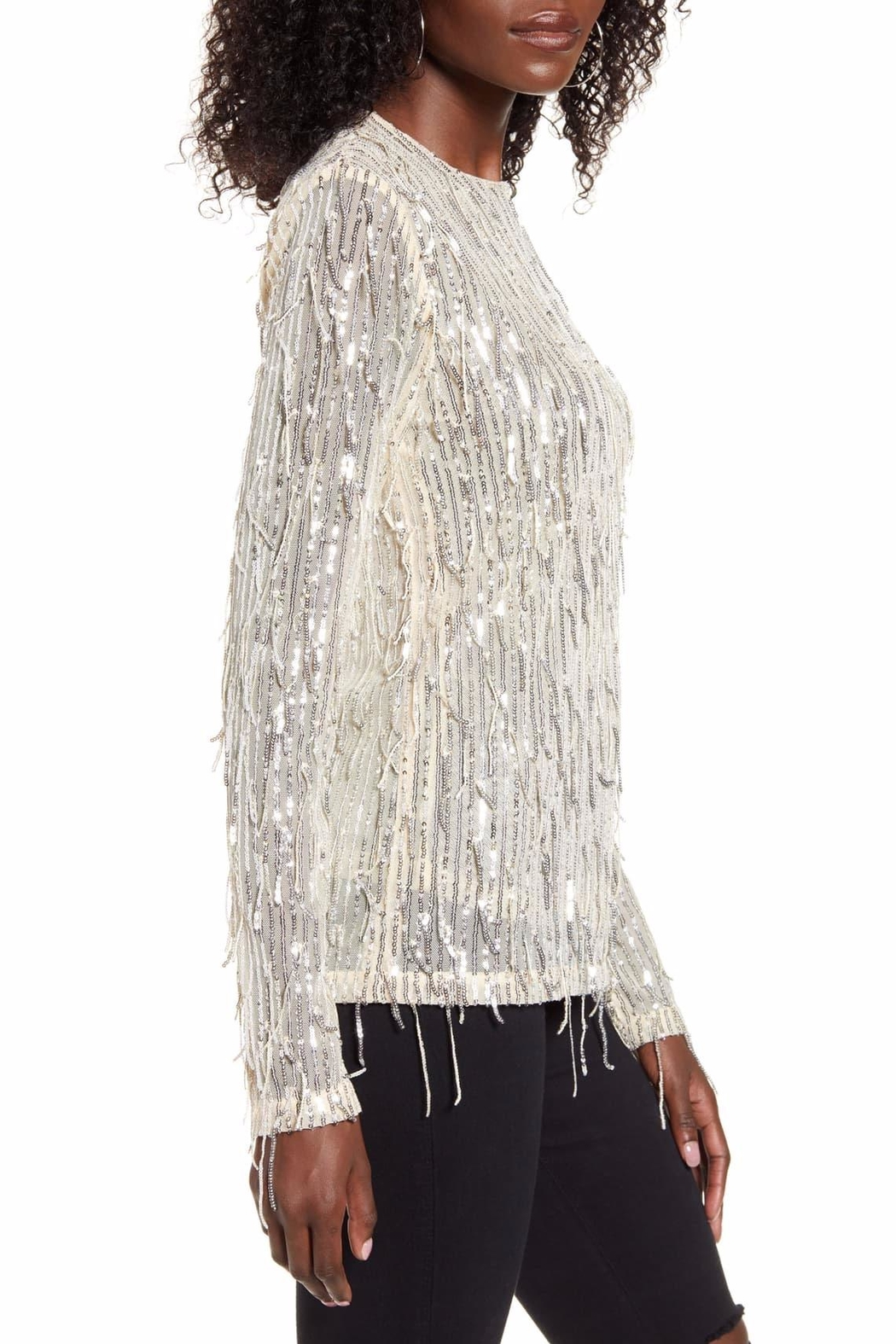 Endless Rose Stella Sequin-Fringe Top - Side Cropped Image