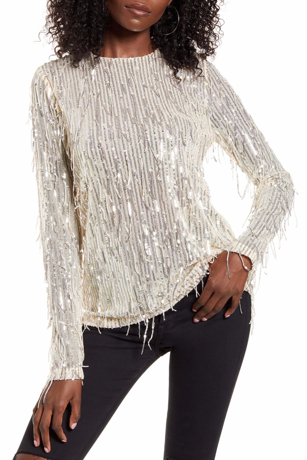 Endless Rose Stella Sequin-Fringe Top - Main Image