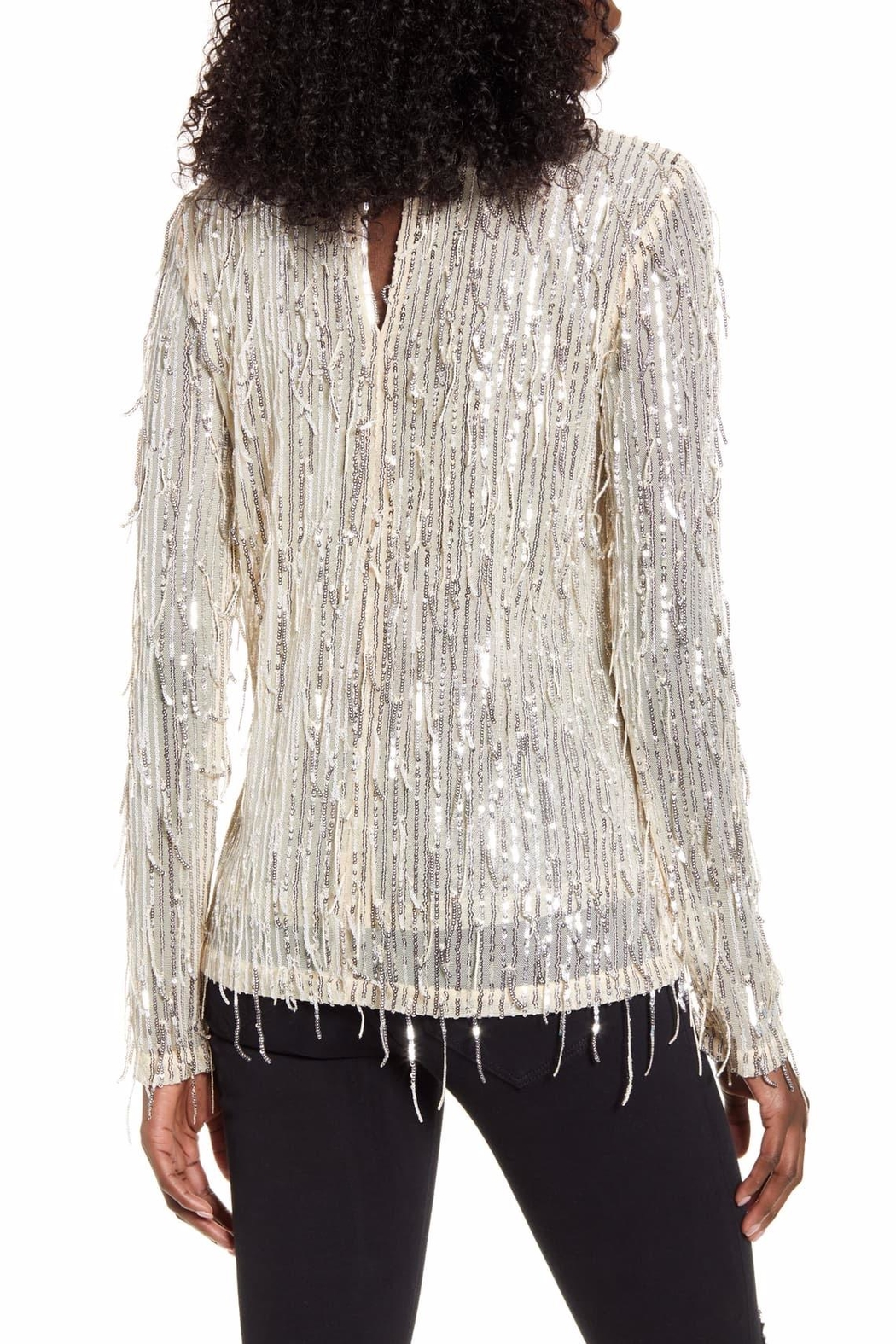 Endless Rose Stella Sequin-Fringe Top - Front Full Image