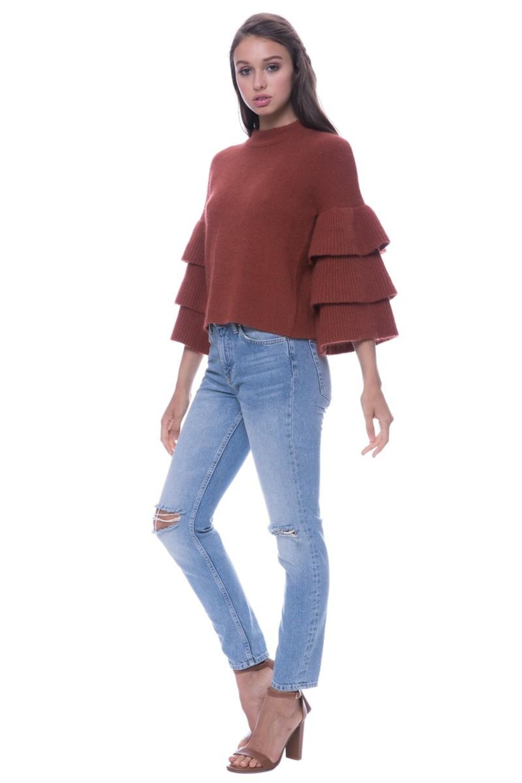 Endless Rose Tiered Sleeve Sweater - Side Cropped Image