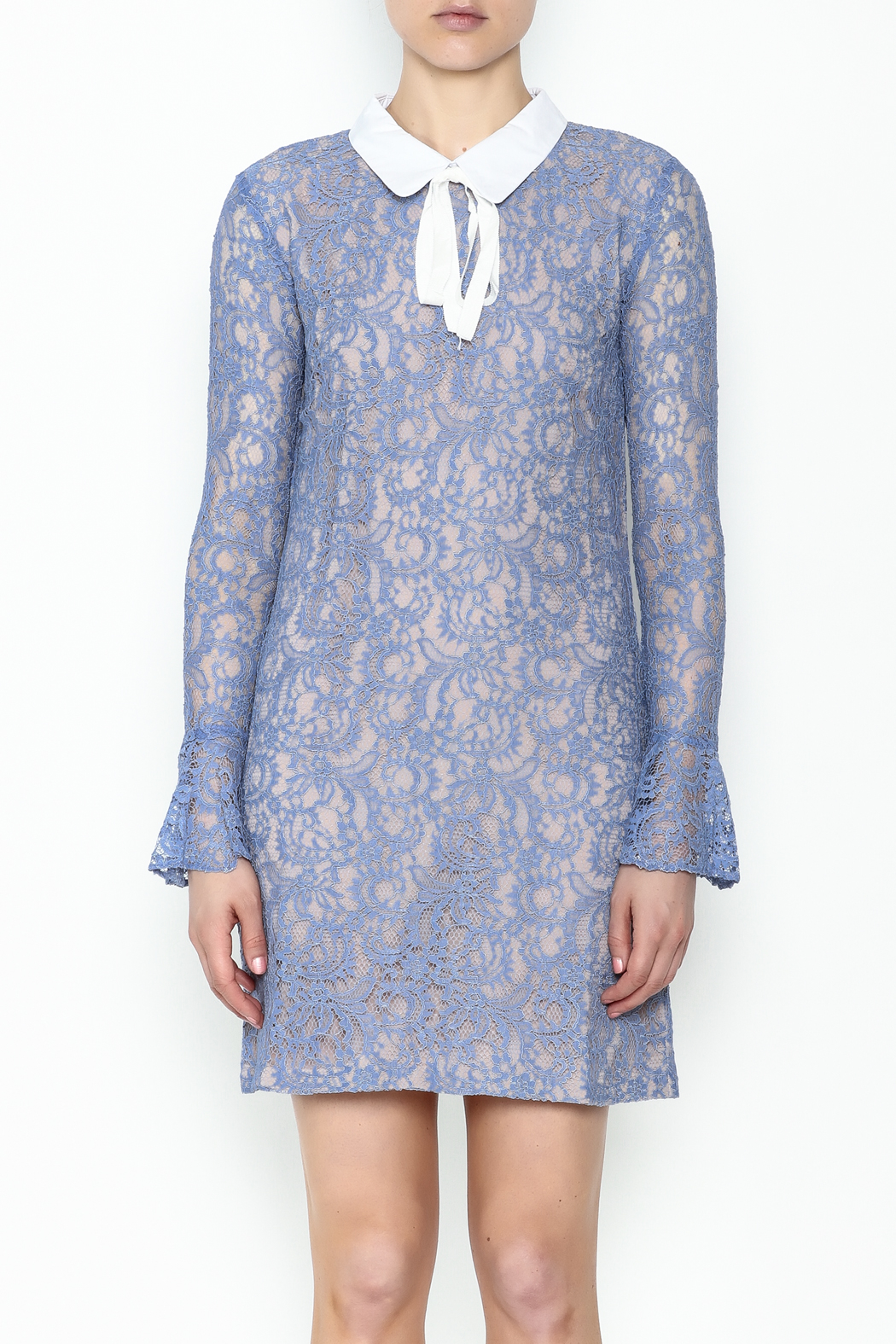 English Factory Collar Lace Bell Sleeve Dress - Front Full Image