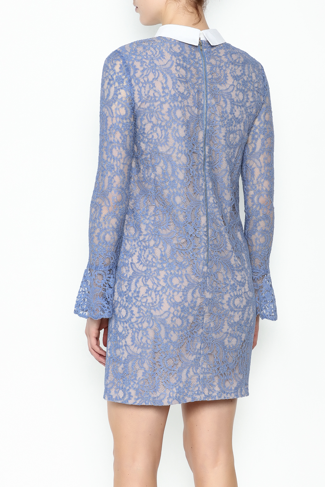 English Factory Collar Lace Bell Sleeve Dress - Back Cropped Image