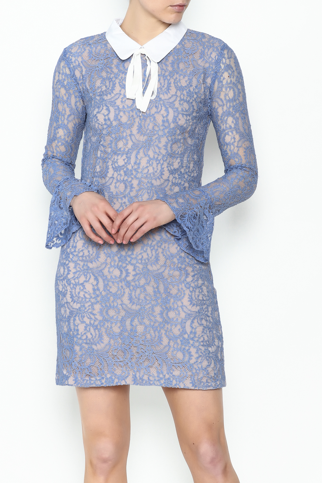 English Factory Collar Lace Bell Sleeve Dress - Main Image