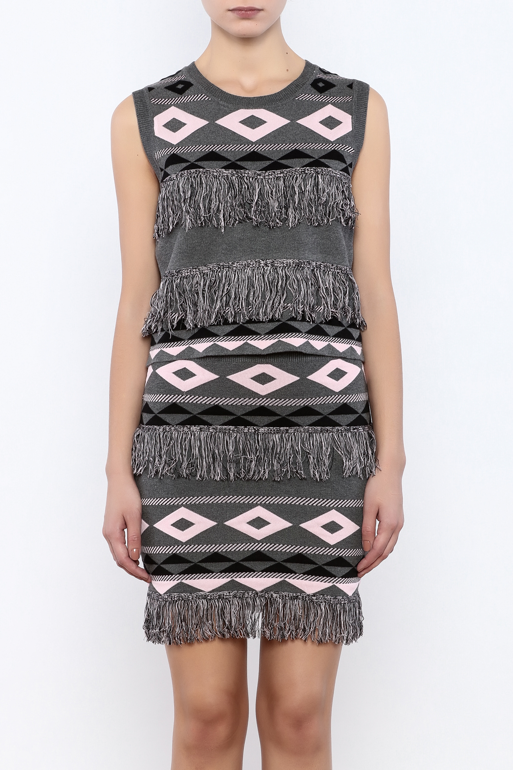 English Factory Fringe Print Top - Side Cropped Image