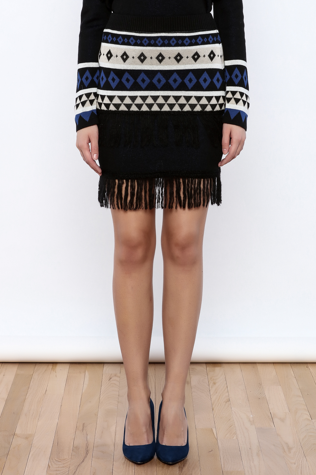 English Factory Geo Sweater Skirt - Side Cropped Image