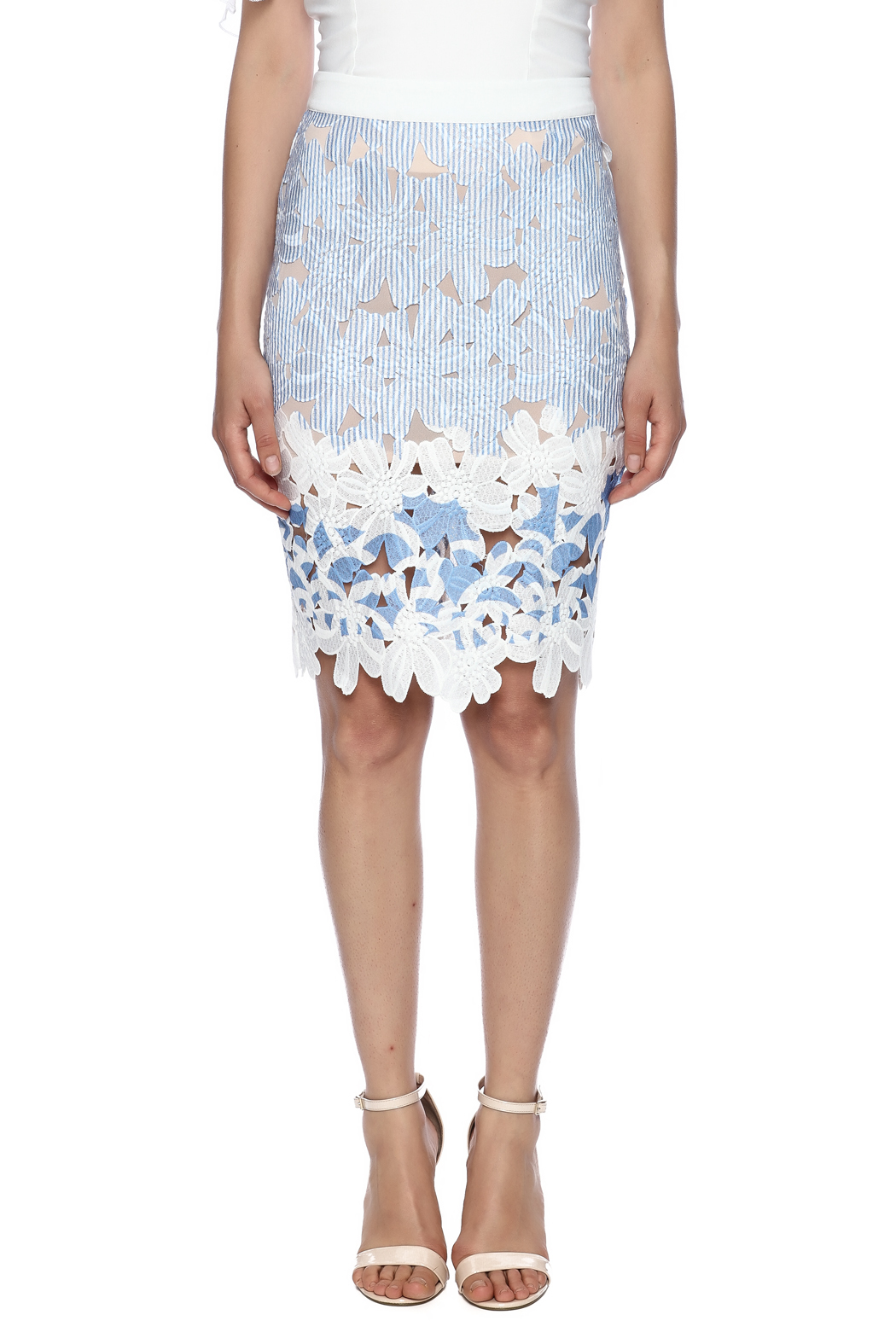 English Factory Lace Striped Skirt - Side Cropped Image