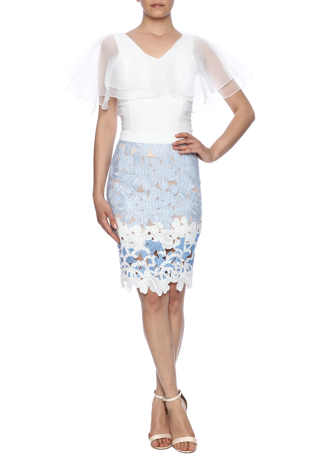 English Factory Lace Striped Skirt - Front Full Image