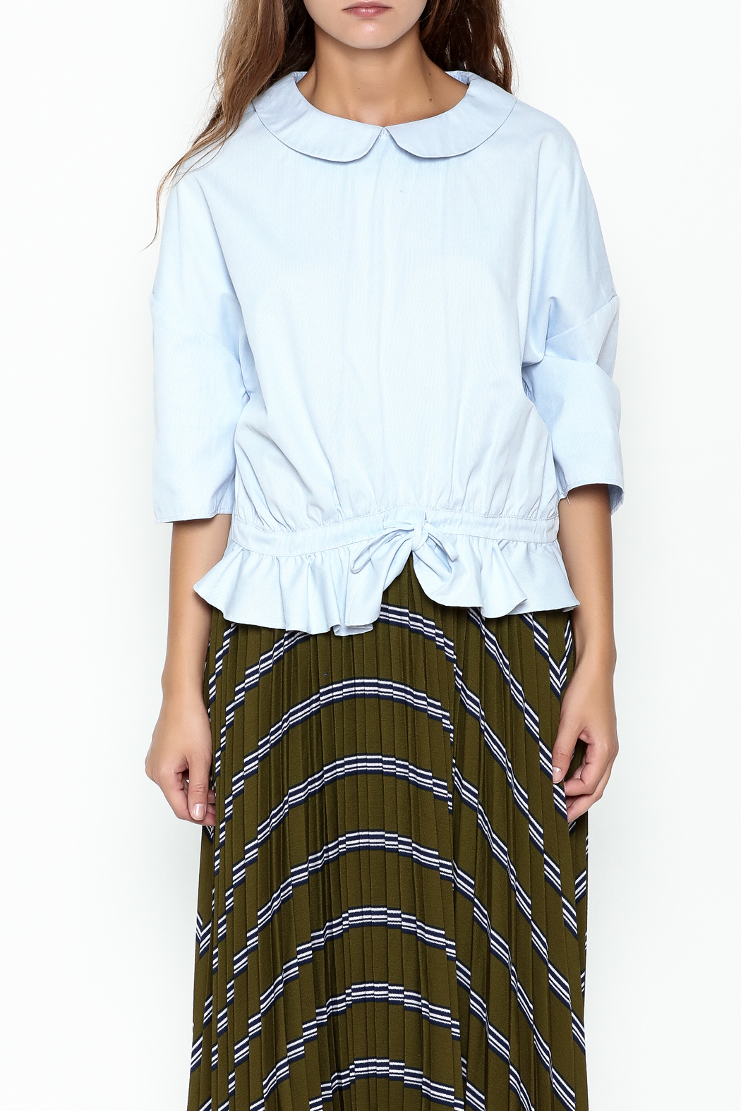 English Factory Ruffle Blue Ring Top - Front Full Image