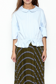 English Factory Ruffle Blue Ring Top - Front full body