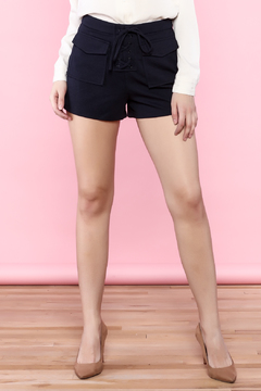 Shoptiques Product: Navy Blue Lace Up Shorts