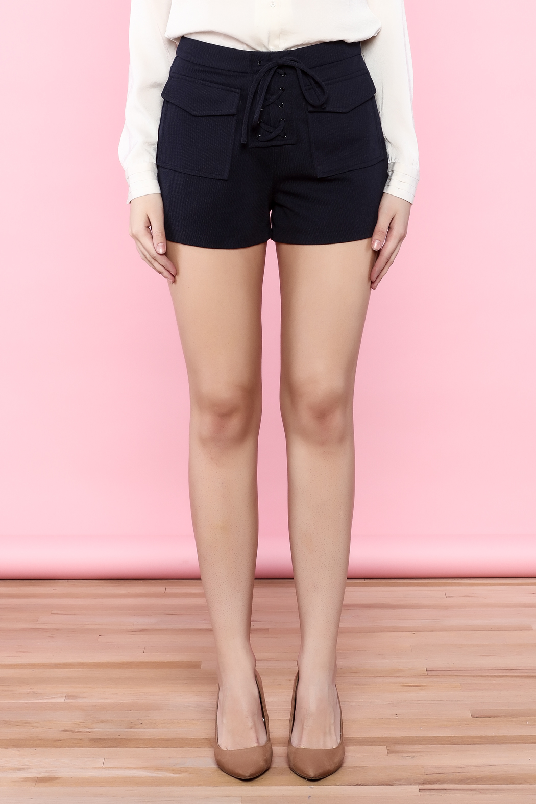 English Factory Navy Blue Lace Up Shorts from Texas by Chic'tique ...