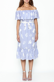 English Factory Off Shoulder Blue Dress - Front full body