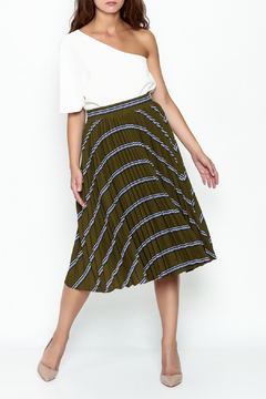 Shoptiques Product: Striped Green Pleated Skirt