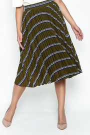 English Factory Striped Green Pleated Skirt - Product Mini Image